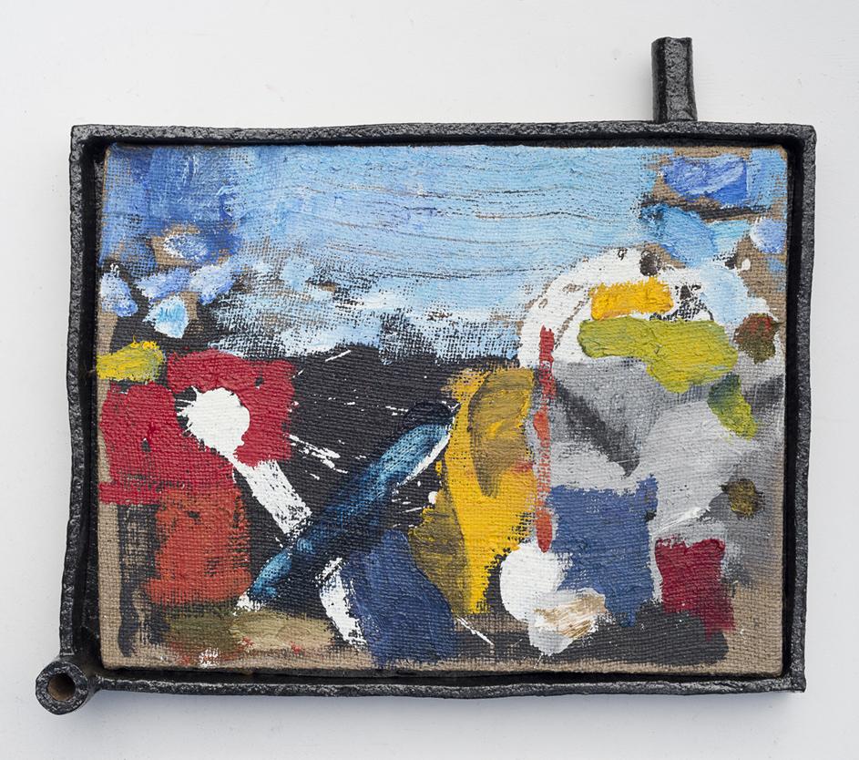 JAKE WALKER #0028 (R.I.P. Leonard Cohen) 2016–17 oil on jute, glazed stoneware frame 42 ×46.5 cm