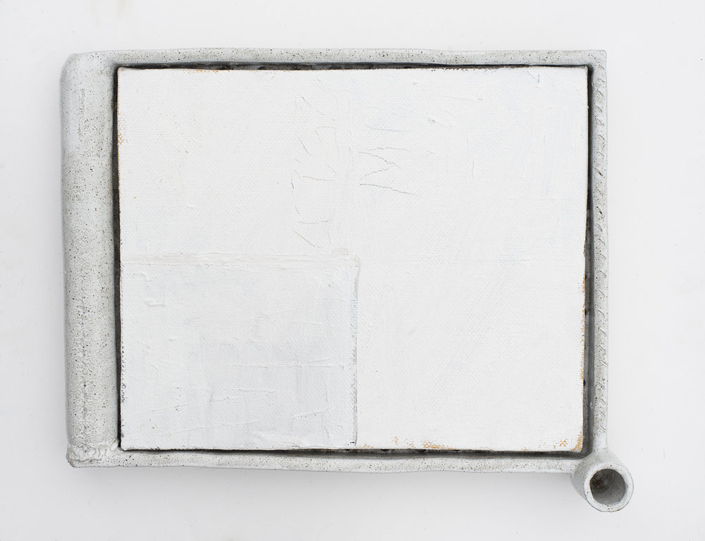 JAKE WALKER  #027  2016–17 oil on linen, glazed stoneware frame 45 × 56 cm