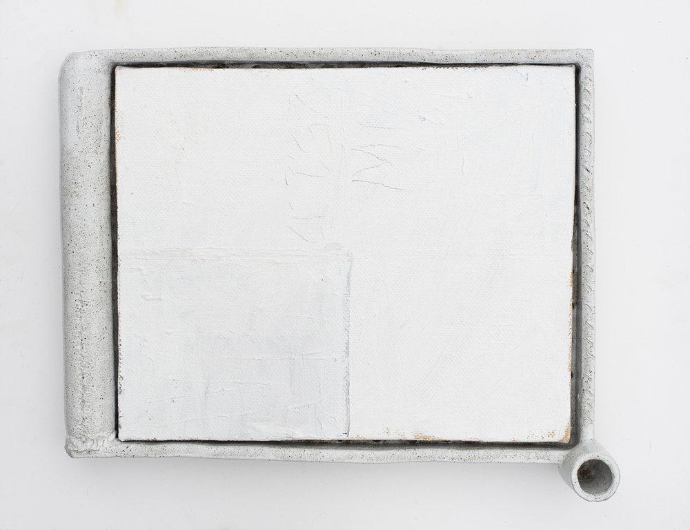 JAKE WALKER #027 2016–17 oil on linen, glazed stoneware frame 45 × 56 cm