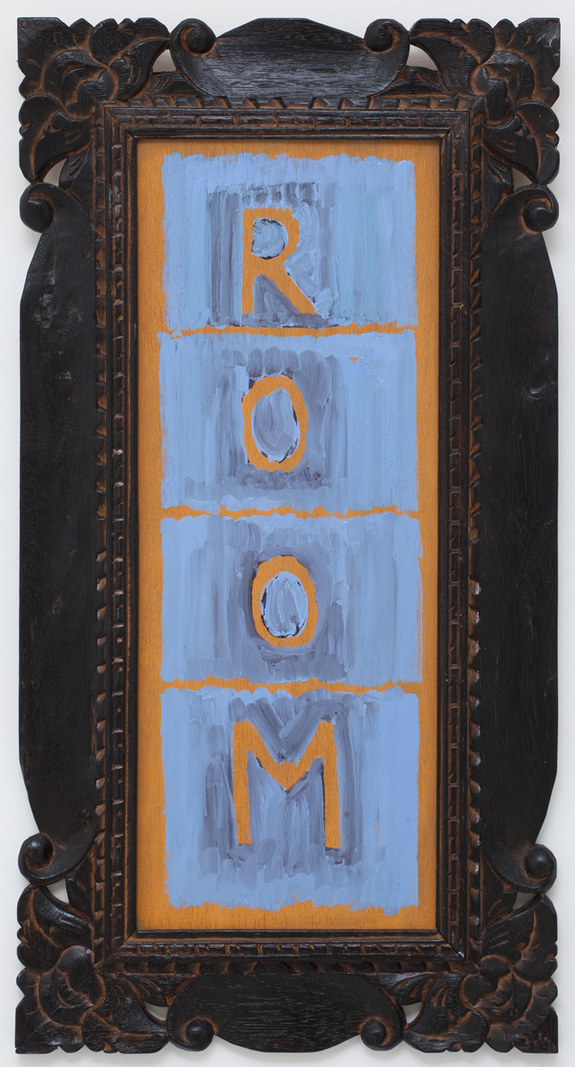 JELLE VAN DEN BERG Room (poster 2) 2012 oil on board with hand-moulded Balinese frame 46 × 20 cm