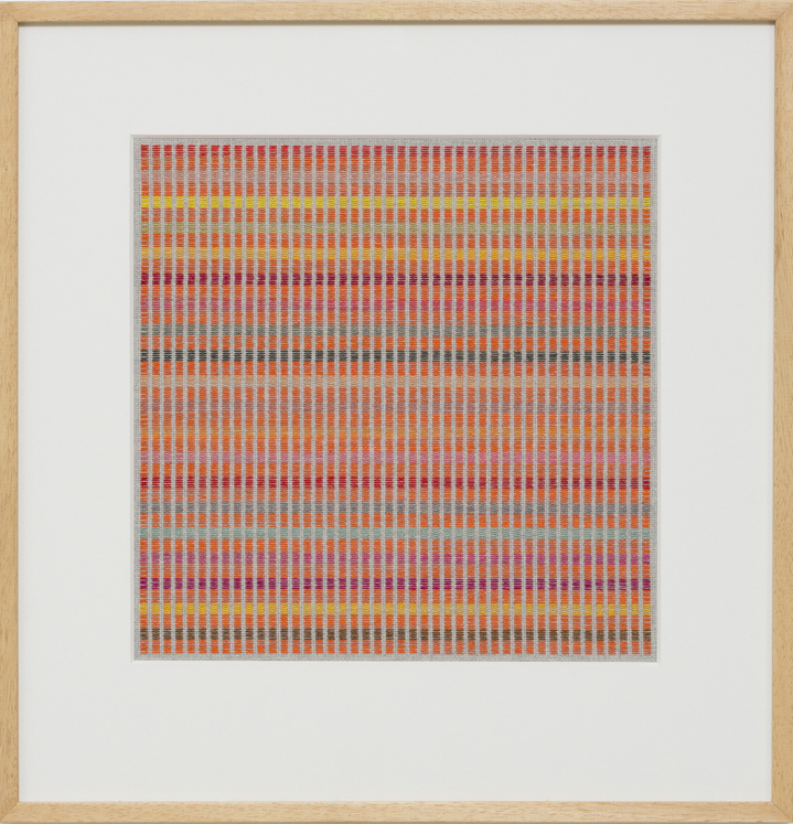 LOUISE TUCKWELL  Comedy of Repitition  2016 cotton on linen tapestry size 44 × 40 cm framed size 65 × 60 cm