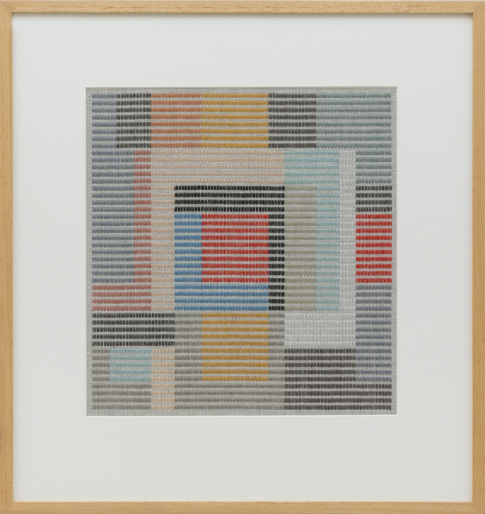 LOUISE TUCKWELL Dia Box Factory 2016 cotton on linen tapestry size 40 × 38 cm framed size 66 × 62cm