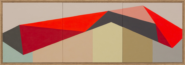 LOUISE TUCKWELL  Frequency  2014 acrylic on board 30 × 90 cm