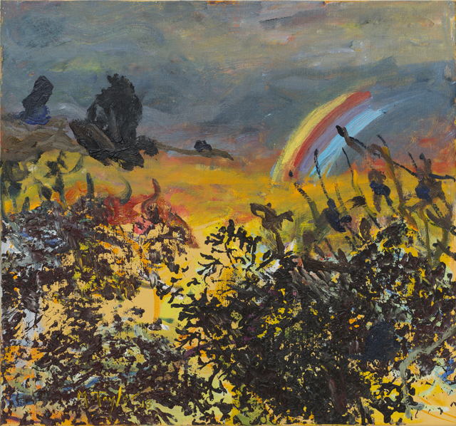 MICHAEL TAYLOR  Landscape with rainbow arc  2013 oil and oil stick on linen 71 × 77 cm