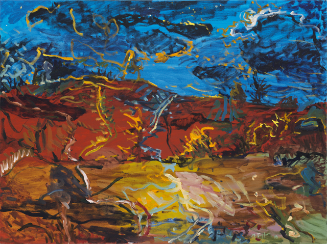 MICHAEL TAYLOR  Landscape with tracks  2013 oil and oil stick on linen 120 × 160 cm