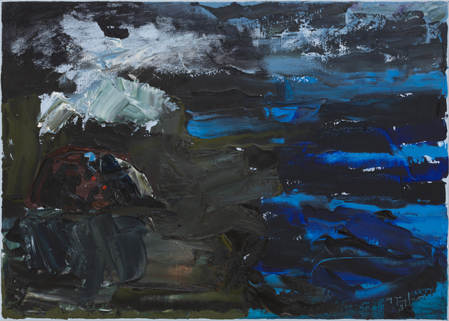 MICHAEL TAYLOR  Ovecast blue  2013 oil and oil stick on linen 51 × 71 cm