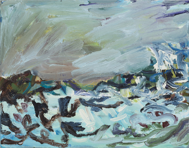 MICHAEL TAYLOR  Sea with weed  2013 oil and oil stick on linen 36 ×46 cm