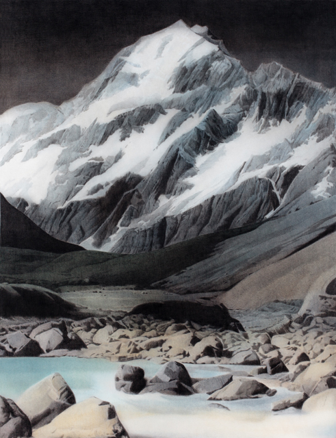 SIMON KENNEDY  Aoraki  2013 charcoal and colour pencil on paper 134 × 100 cm