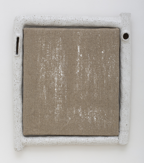 JAKE WALKER  Athfield framed painting 2  2013 gesso on linen in glazed stoneware artist's frame 42 × 36 cm