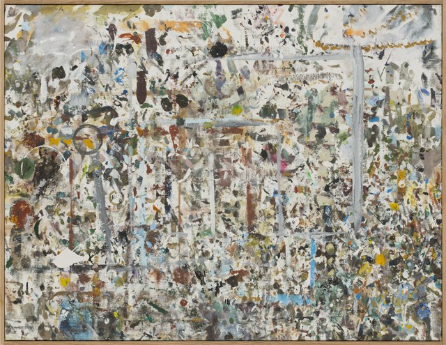 JAKE WALKER  Benchtop painting  2011-12 mixed media on linen in artist's frame 75 ×96 cm
