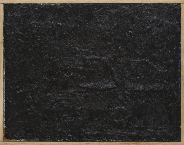 JAKE WALKER  Black painting 1  2013 oil on board in artist's frame 38 ×48 cm