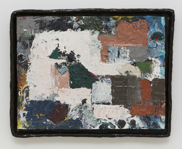 JAKE WALKER  Untitled painting 1  2011-13 oil on board in glazed stoneware artist's frame 35 × 45 cm
