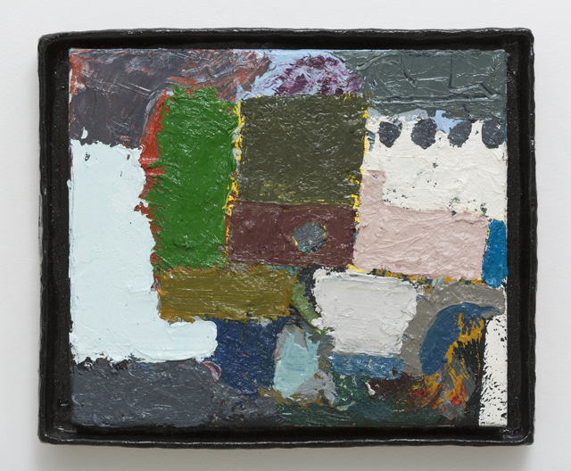 JAKE WALKER  Untitled painting 7  2009-13 oil on board in glazed stoneware artist's frame 34 × 41 cm