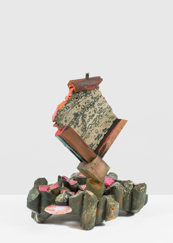 ANDRZEJ ZEILINSKI  Cluster Analysing?  2016 core samples from mining exploration in New South Wales, orbicular jasper, river red gum wood, perspex, agate, epoxy, acrylic paint 39.5 × 37 × 23 cm