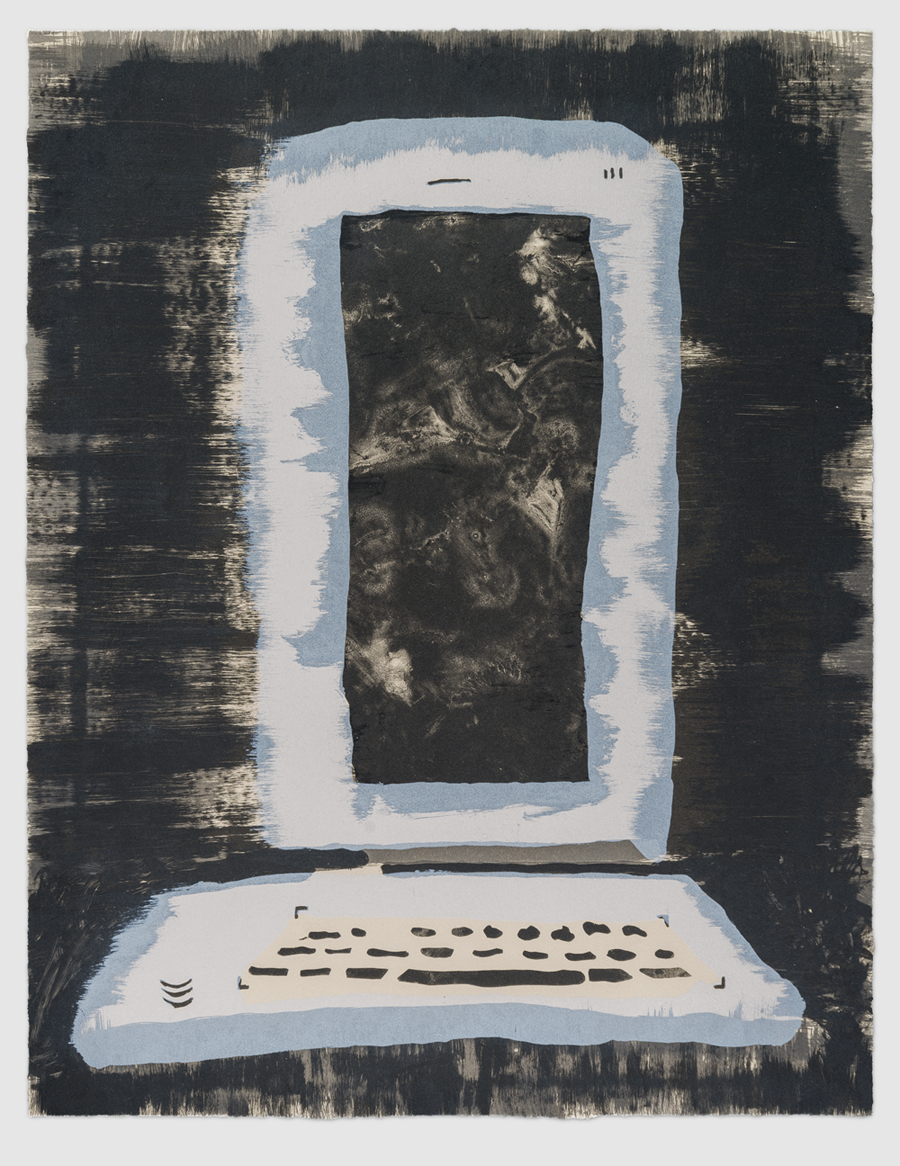 ANDRZEJ ZIELINSKI Sleeved Laptop 2015 lithograph on Arches buff 79 × 63 cm (framed)