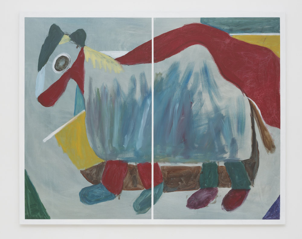 SIMON BLAU Horse Costume 2017 acrylic on linen 122 × 152 cm
