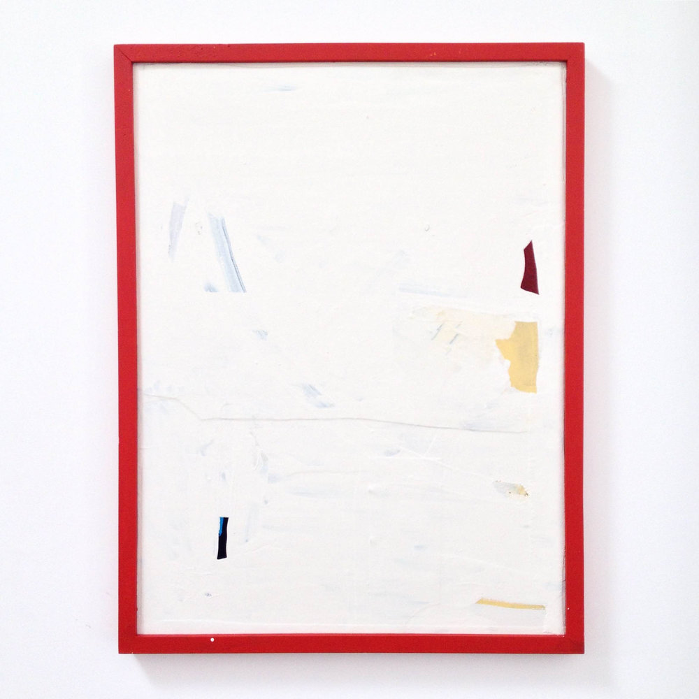 ED BATS Untitled (Lake Hayes) 2016 canvas, enamel and acrylic on board with painted frame 64.5 × 49 cm