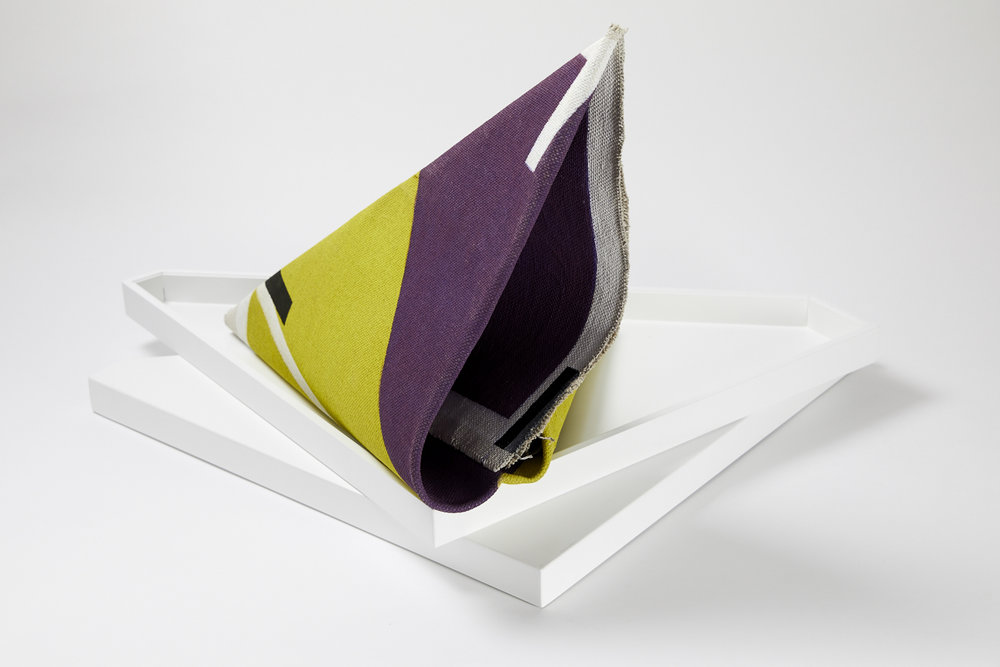 LYNNE EASTAWAY  Folded Purple/Green  2017 acrylic on linen with acrylic box dimensions variable Box size: 58 × 61.5 cm