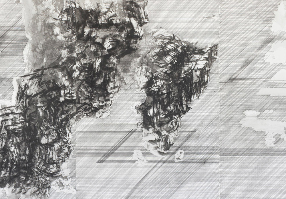 PETER NELSON One was reticent (detail) 2016 ink on paper 32 × 110 cm