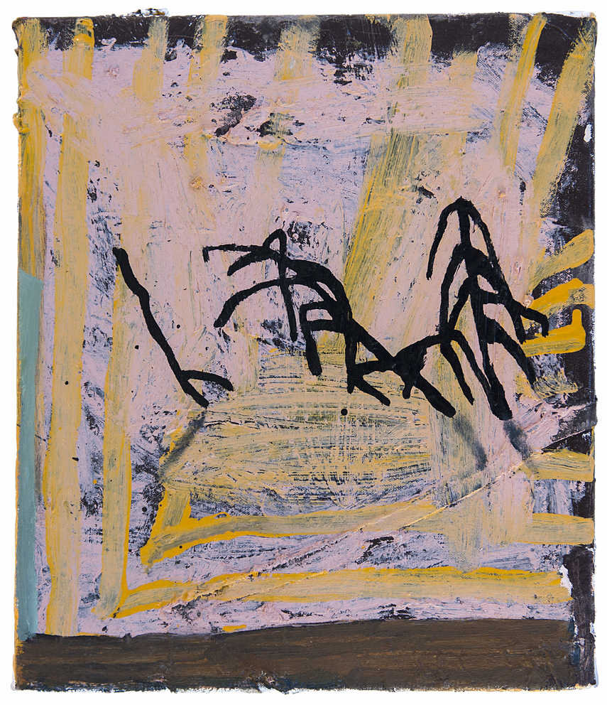 TEELAH GEORGE  Sunset on the wall 2016 oil, enamel, thread, cotton on linen 36 × 30.5 cm