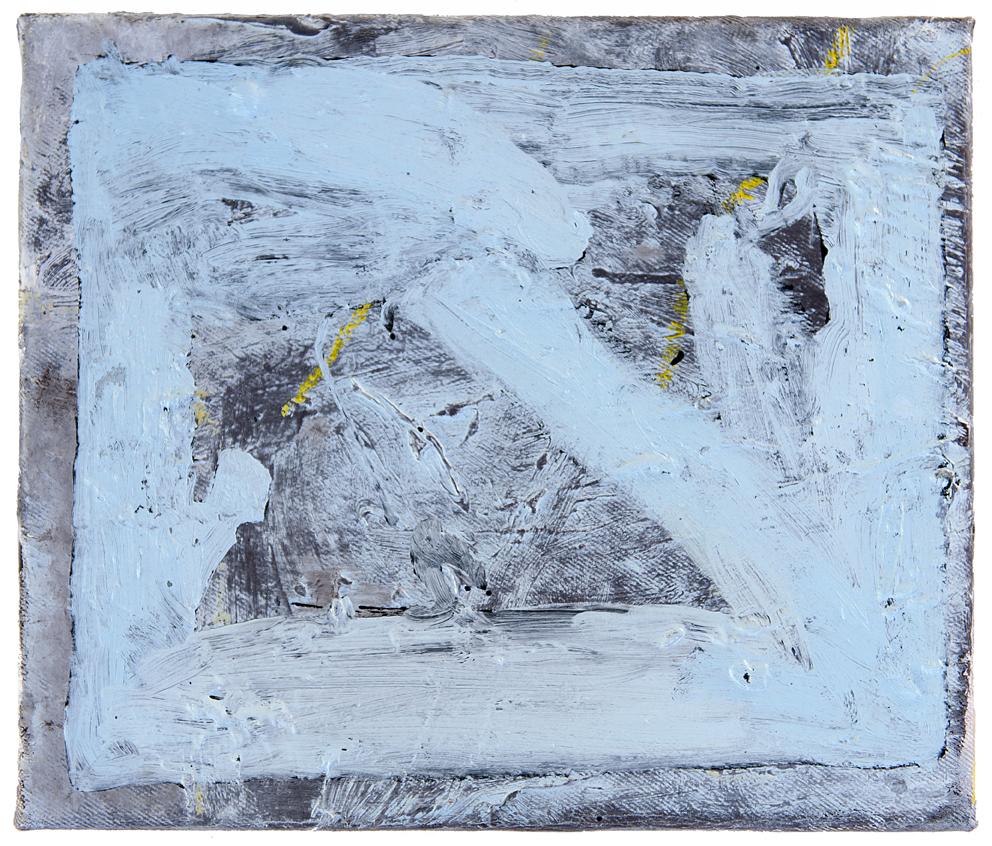 TEELAH GEORGE  Nude Beach Feeling 2016 oil, enamel and oil pastel on linen 30.5 × 35.5 cm