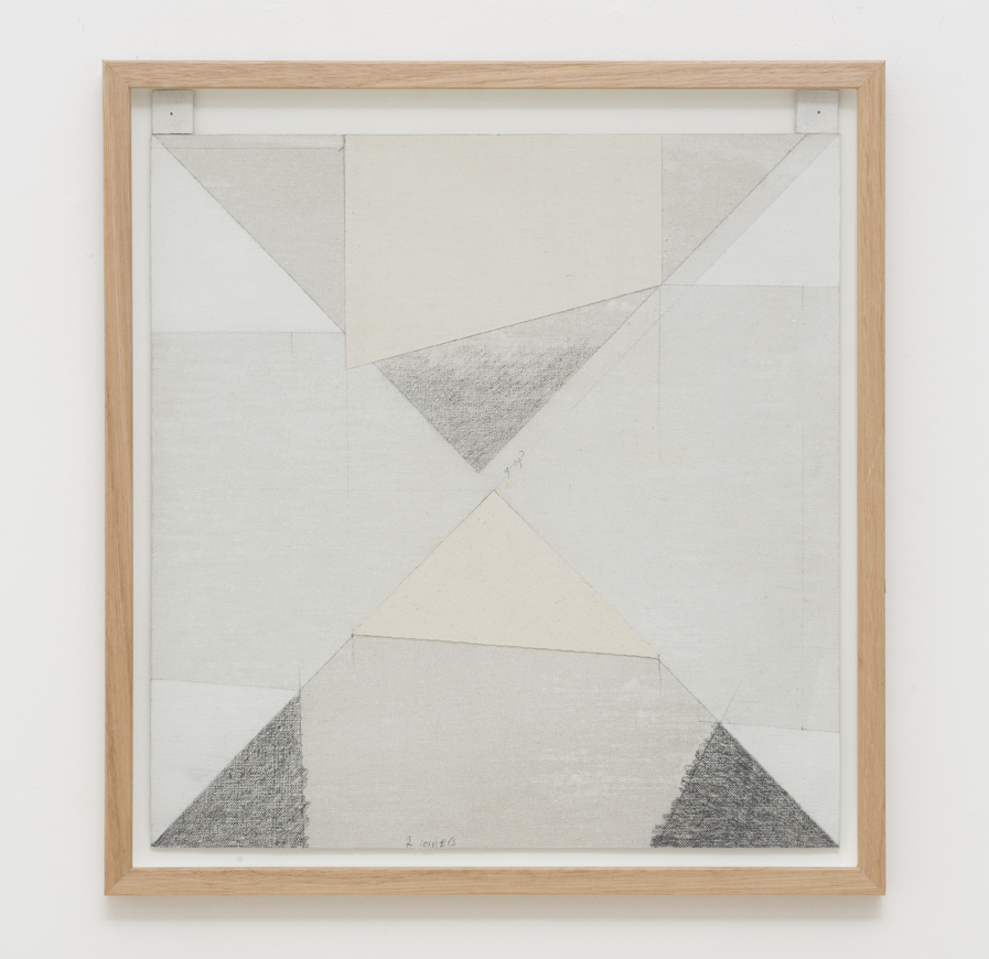 LYNNE EASTAWAY  Gap  2017 laminated linen and cotton duck, gesso, graphite, acrylic 43.5 × 40 cm 48.3 × 45.5 cm (framed)