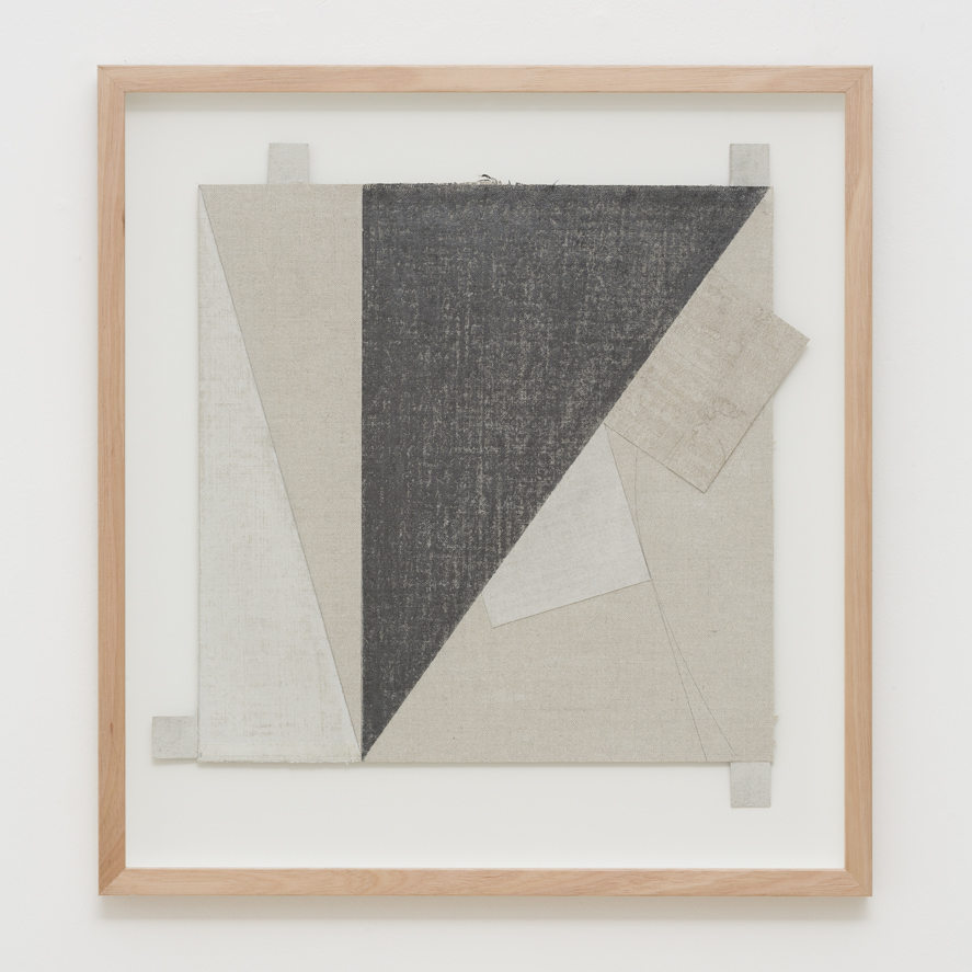 LYNNE EASTAWAY  ZIP 2017 laminated linen, graphite, acrylic 38 × 38 cm 43.5 × 40 cm (framed)
