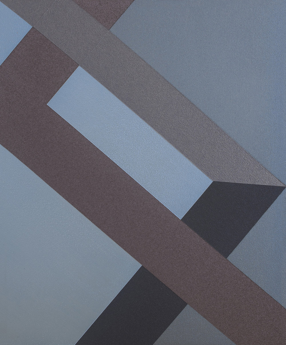SAMARA ADAMSON-PINCZEWSKI  Blue Corner 2  2014 acrylic on wood panel 30 ×25 cm