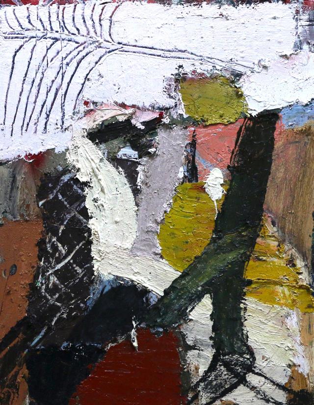 JAMES DRINKWATER  Driving into Stradbroke Island  2015 oil on hardboard 45 × 35 cm