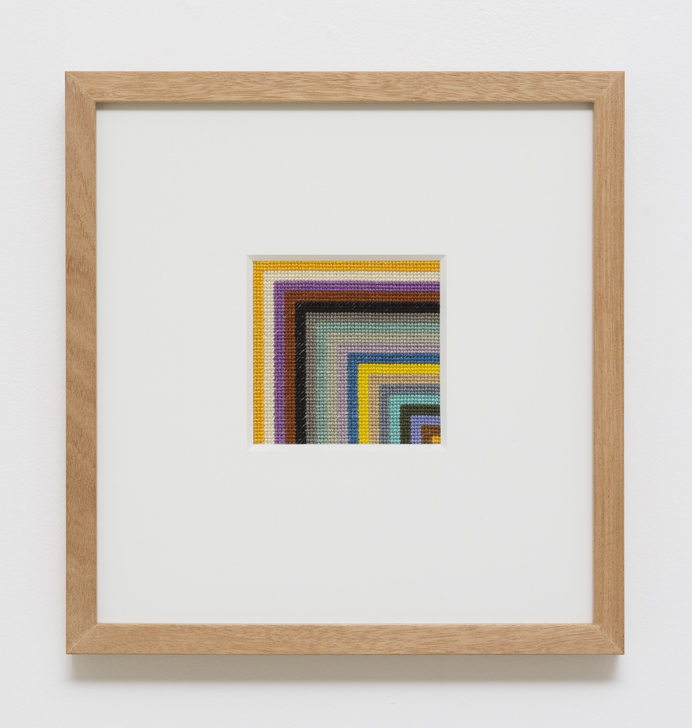 LOUISE TUCKWELL  Blink Rate  2014 cotton on linen tapestry size 10 × 10 cm framed size 30 × 30 cm