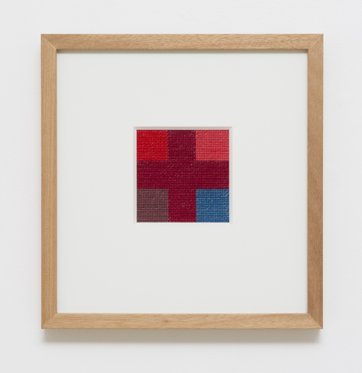 LOUISE TUCKWELL True Cross 2014 cotton on linen tapestry size 10 × 10 cm framed size 30 × 30 cm