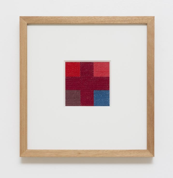 LOUISE TUCKWELL   True Cross  2014 cotton on linen tapestry size 10 × 10 cm framed size 30 × 30 cm