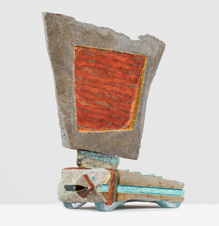 ANDRZEJ ZIELINSKI Data Recovery? 2016 Australian sandstone, agate, zebra rock, West Australian variscite, river red gum wood, plywood, copper, acrylic and encaustic paint 78 × 66 × 33 cm (30.75 × 26 × 13 in)