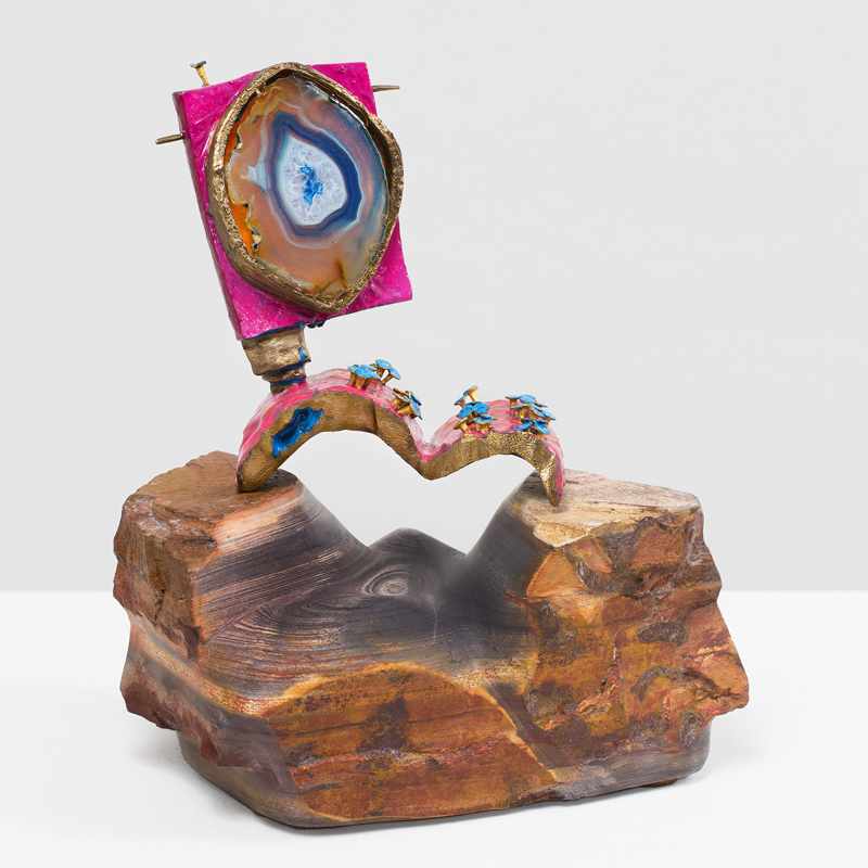 ANDRZEJ ZIELINSKI  Frequency Hopping?  2016 bronze, agate, enamel paint, primordial stone from the East Kimberly region 23.5 × 22 × 19 cm (9.25 × 8.5 × 7.5 in)