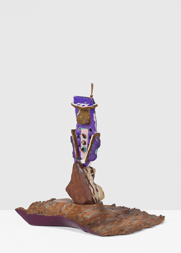 ANDREZEJ ZELINSHI  Reverberating?  2016 cast iron, copper, opal, zebra rock,river red gum wood, enamel and encaustic paint 41 × 34 × 32 cm