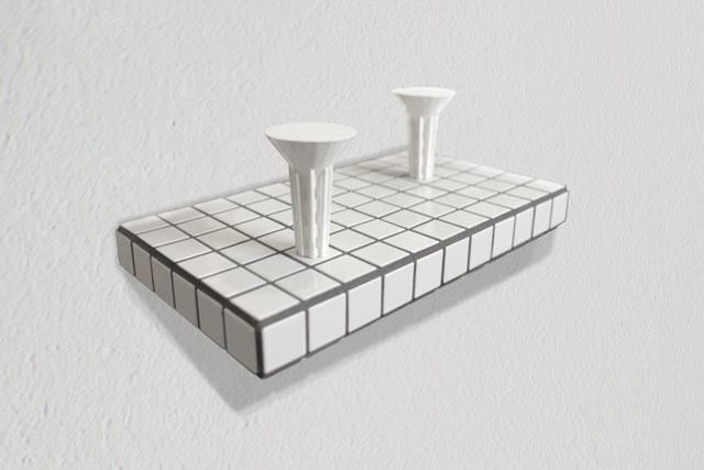 PETER NELSON  An idea built twice  2014 3D printed ceramic on ceramic shelf 20 × 30 × 56 cm
