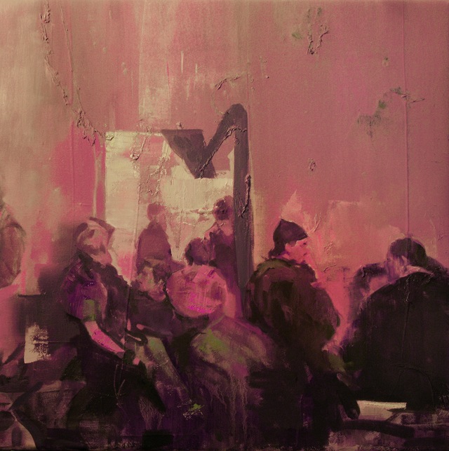 DAVID RALPH  Schreibmaschine Bar  2015 oil on canvas 46 × 46 cm