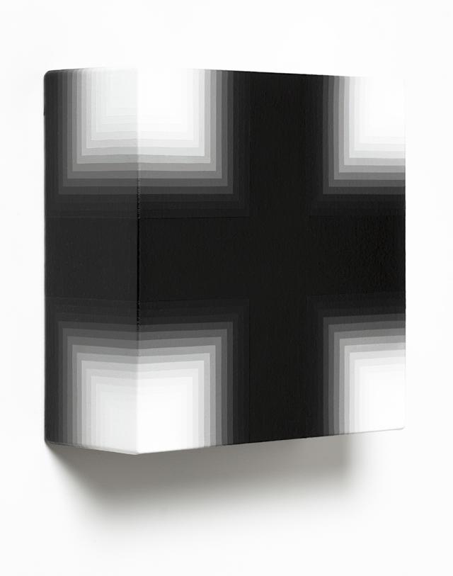 MAGDA CEBOKLI  Black/White  2014 acrylic on canvas 31 × 31 × 12 cm