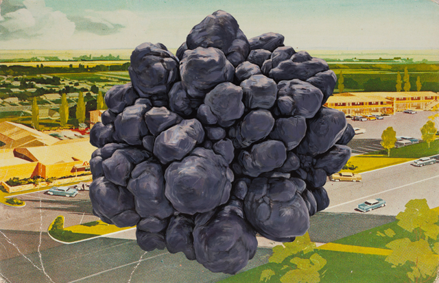 ADAM NORTON  Car Park Meteor  2015 synthetic polymer and pigment ink on canvas 91 × 140 cm