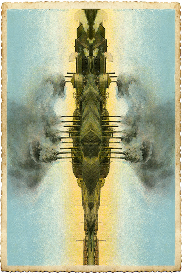ADAM NORTON Steampunk Spaceship 2015 pigment ink on card edition of 3 + 1 AP 15 x 10 cm (framed)