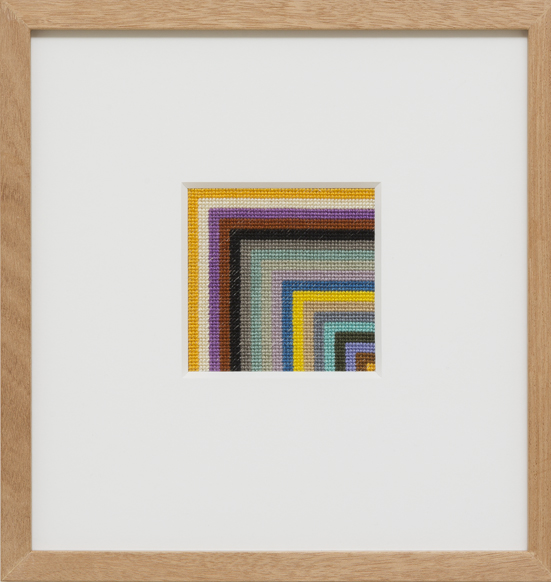 LOUISE TUCKWELL  Blink Rate  2014 cotton thread on linen tapestry size 10 × 10 cm
