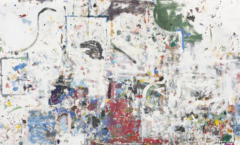 JAKE WALKER  Desktop painting  2015–16 mixed media on linen 110 × 175 cm