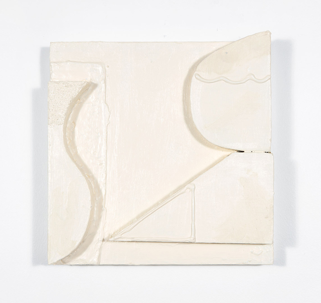 MATTHEW HOPKINS  R & S  2015 acrylic, gel medium, moulding paste and pumice medium on pine and plywood 23 × 23 cm