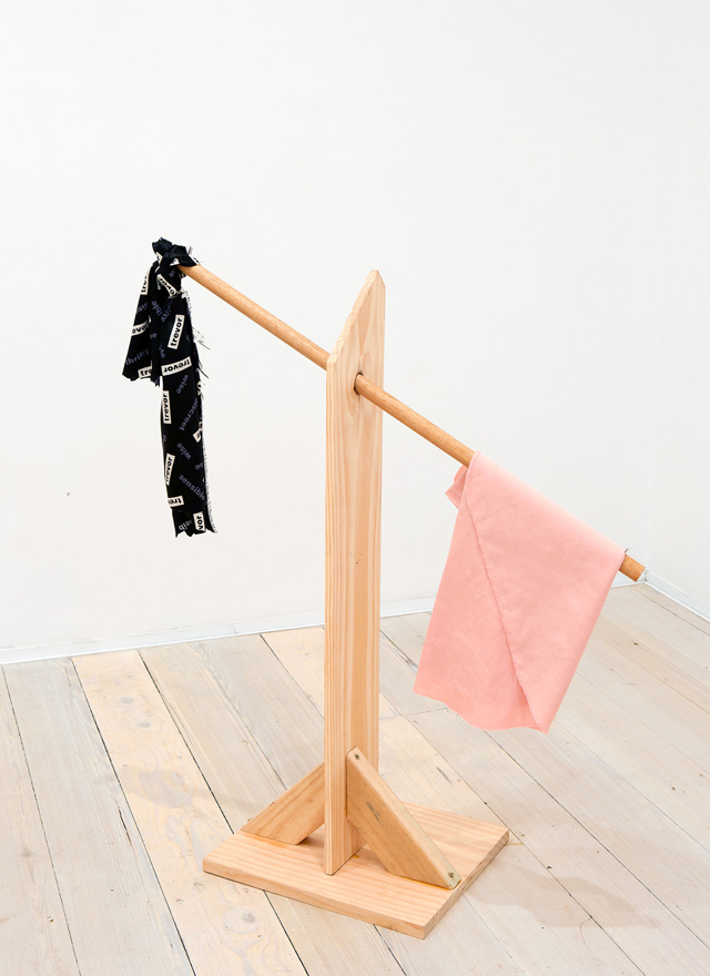 MATTHEW HOPKINS Rack Scale Gallows 2015 pine, oak, found fabrics 90 × 80 × 30 cm