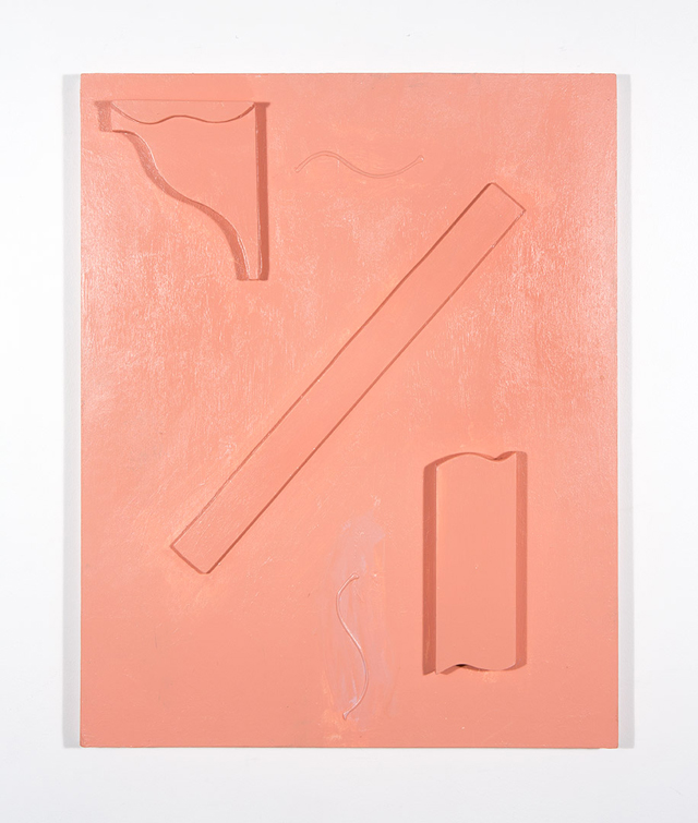 MATTHEW HOPKINS  The Flesh-Tone Objections  2014 acrylic and gel medium on pine and plywood 77 × 61 cm