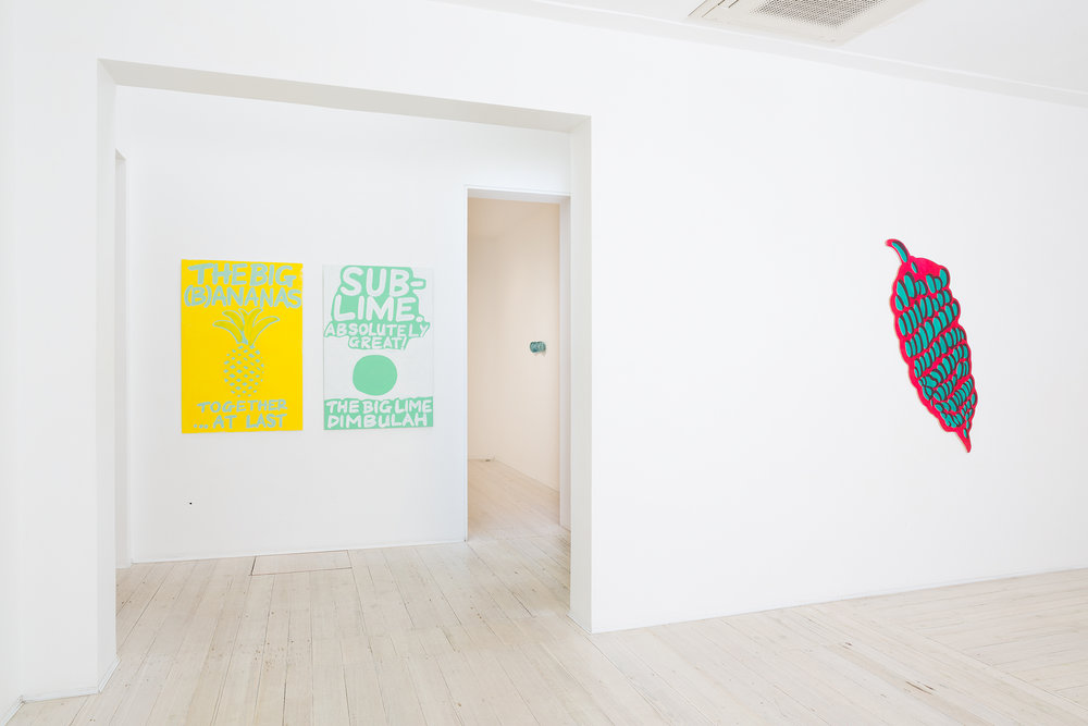SEAN RAFFERTY     (B)ANANAS  2015 (left) Acrylic on plywood 120 × 80 cm   Sub-lime  2015 (middle) Acrylic on plywood 120 × 80 cm   Bananas  2014 (right) Oil and acrylic on plywood 144 × 54 cm
