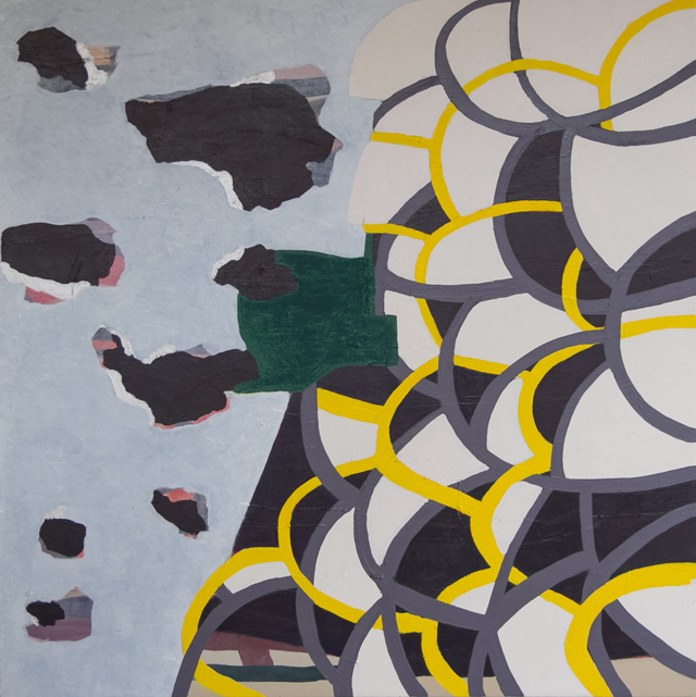PETER ALWAST Writing 2015 oil and oil stick on polycotton 80 × 80 cm
