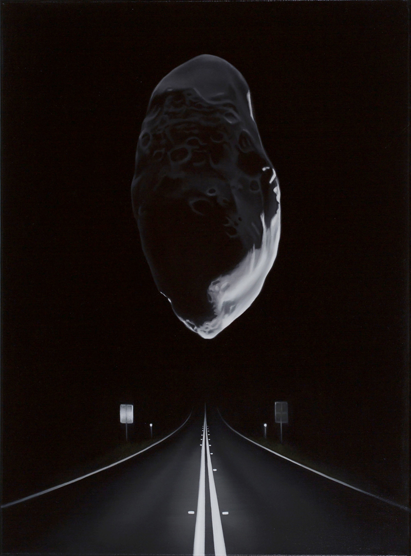 TONY LLOYD  Near Earth asteroid with highway (Prometheus)  2017 oil on linen 61 × 45 cm