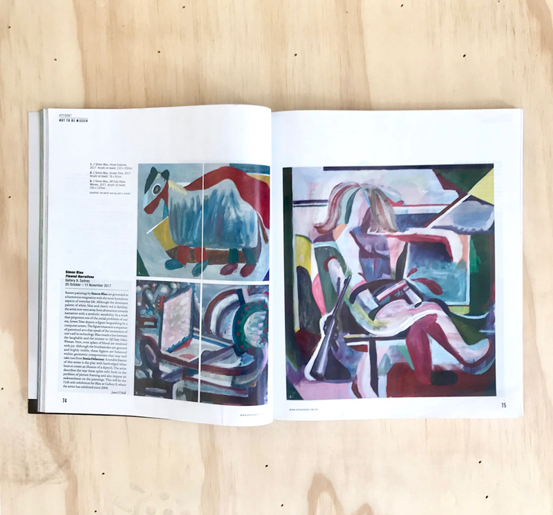 Read Jane O'Neil's preview of Simon Blau's exhibition  Faulty Narratives  in the 'Not to be Missed' section of  Art Collector , Issue 82, Oct–Dec 2017