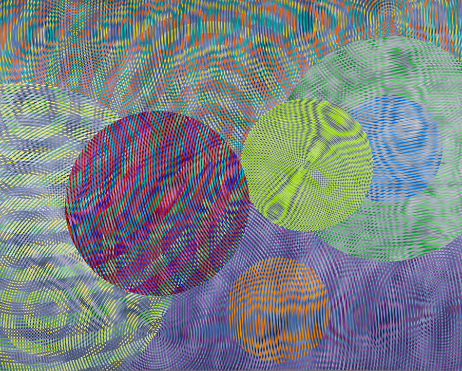 JOHN ASLANIDIS  Sonic Network No.3  2007 oil and acrylic on canvas  244 × 305 cm